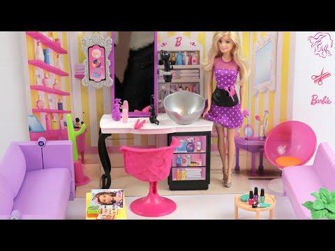Barbie Hair Salon! Pretend Play Dolls Hairsalon Hairwash Haircut Barbie New hairstyle