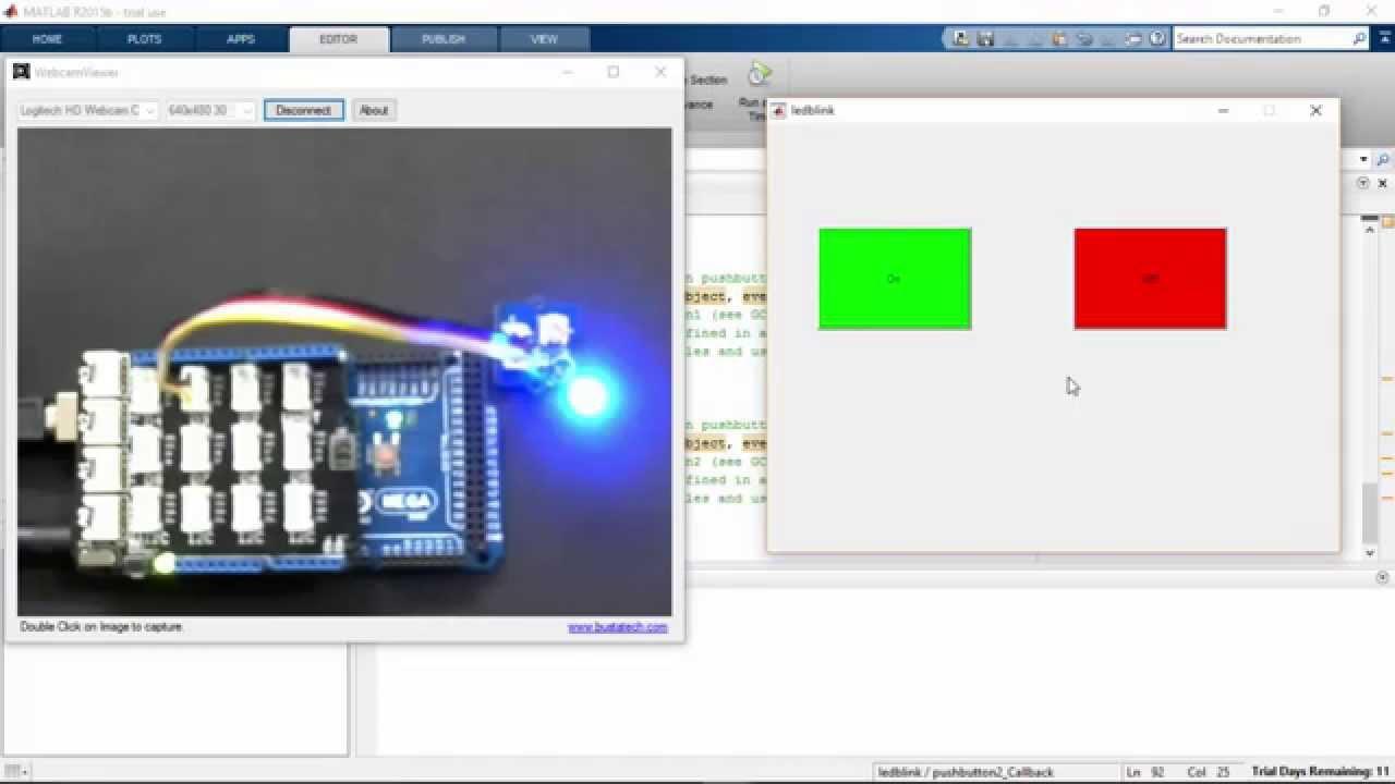 Arduino matlab gui controlling an led youtube