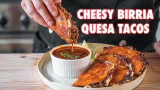 The Juiciest Homemade Birria Quesa Tacos