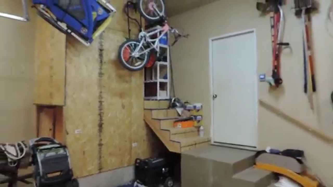 & Wasted Spaces Idea Above Basement Stairs in Garage - YouTube