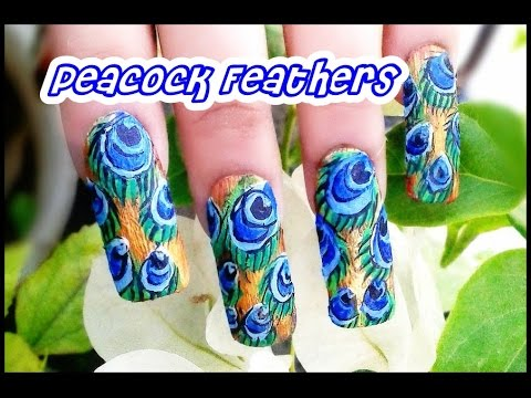 Peacock Feathers Nail Art Tutorial Requested Youtube