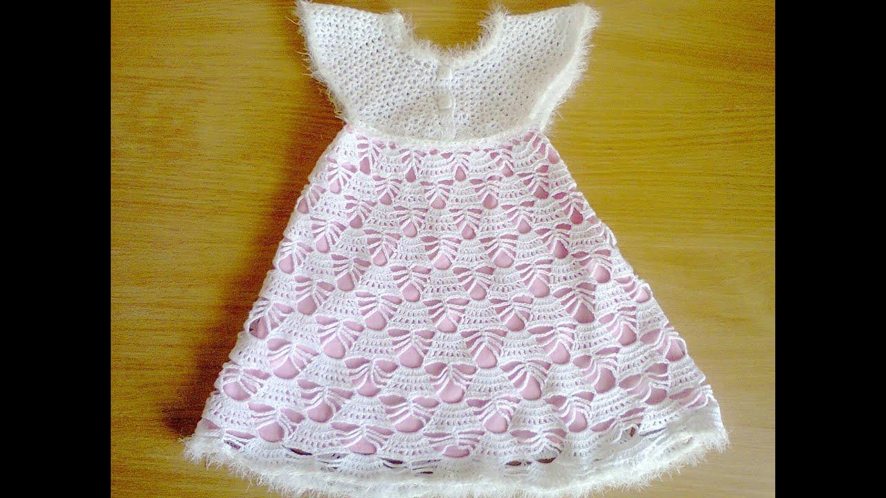 схемы вязания крючком детских платьев до года