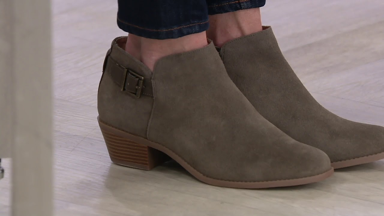 Vionic Suede Ankle Boots with Buckle