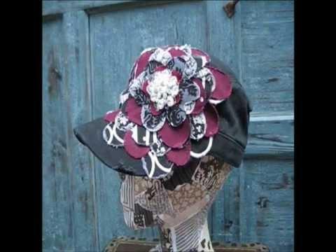Maroon & White Frayed Flower |Black Vintage Distressed Cadet Hat