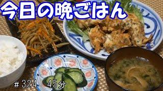 【晩ごはん】胸肉と玉ねぎのかき揚げ風 きんぴらごぼう キュウリの浅漬け サラダ お味噌汁
