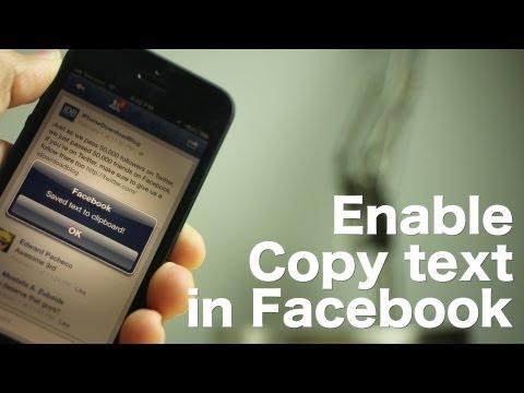 Enable Copy text in Facebook