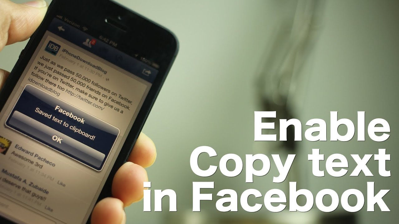 Enable Copy text in Facebook' makes using the official