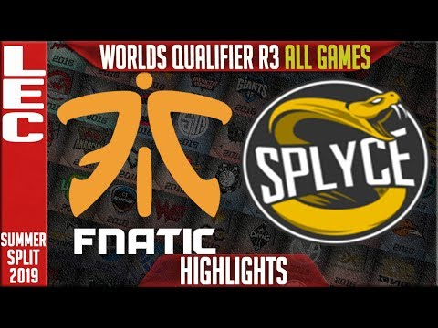 FNC vs SPY Highlights ALL GAMES  LEC Summer 2019 Worlds Qualifier R3  Fnatic vs Splyce