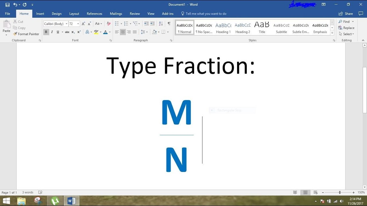how to type fraction in ms word  easy and simple way