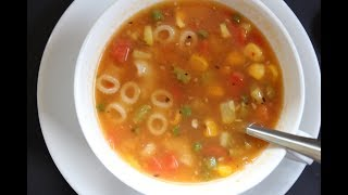 Best Minestrone Soup - Hindi Recipe -  Italian Vegetable And Pasta Soup - मिनिस्