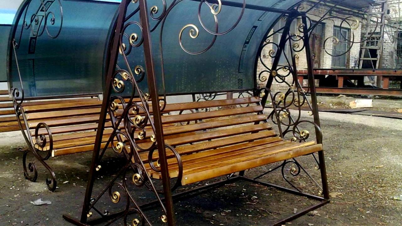 кованые садовые качели фото