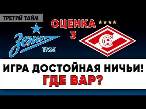 Оценка 3 за матч Зенит - Спартак 1 декабря 2019. Обзор. Новости футбола