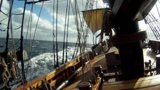 At the helm of HMS Bounty