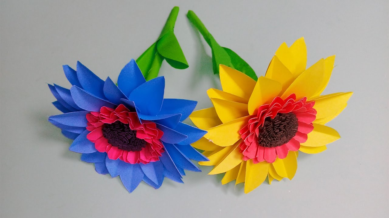 Handmade Crafts - Beautiful Flower Making With Paper - Paper Flowers Making - DIY Home Decor