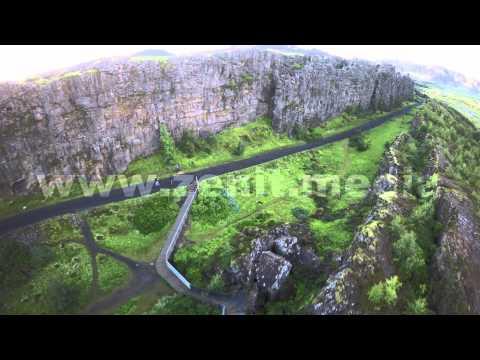 North America & Eurasia tectonic plates gap Thingvellir national park ' aerial