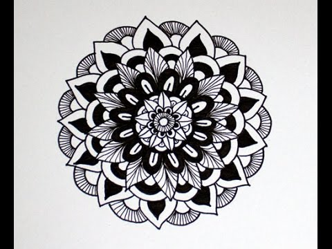 Black and white mandala zendoodle art
