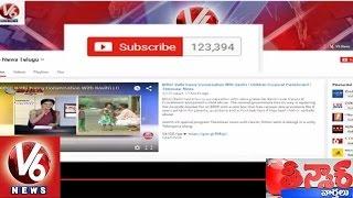 V6 Channel Bags Award From Youtube   1 Lakh Subscribers   Teenmaar News   V6 News