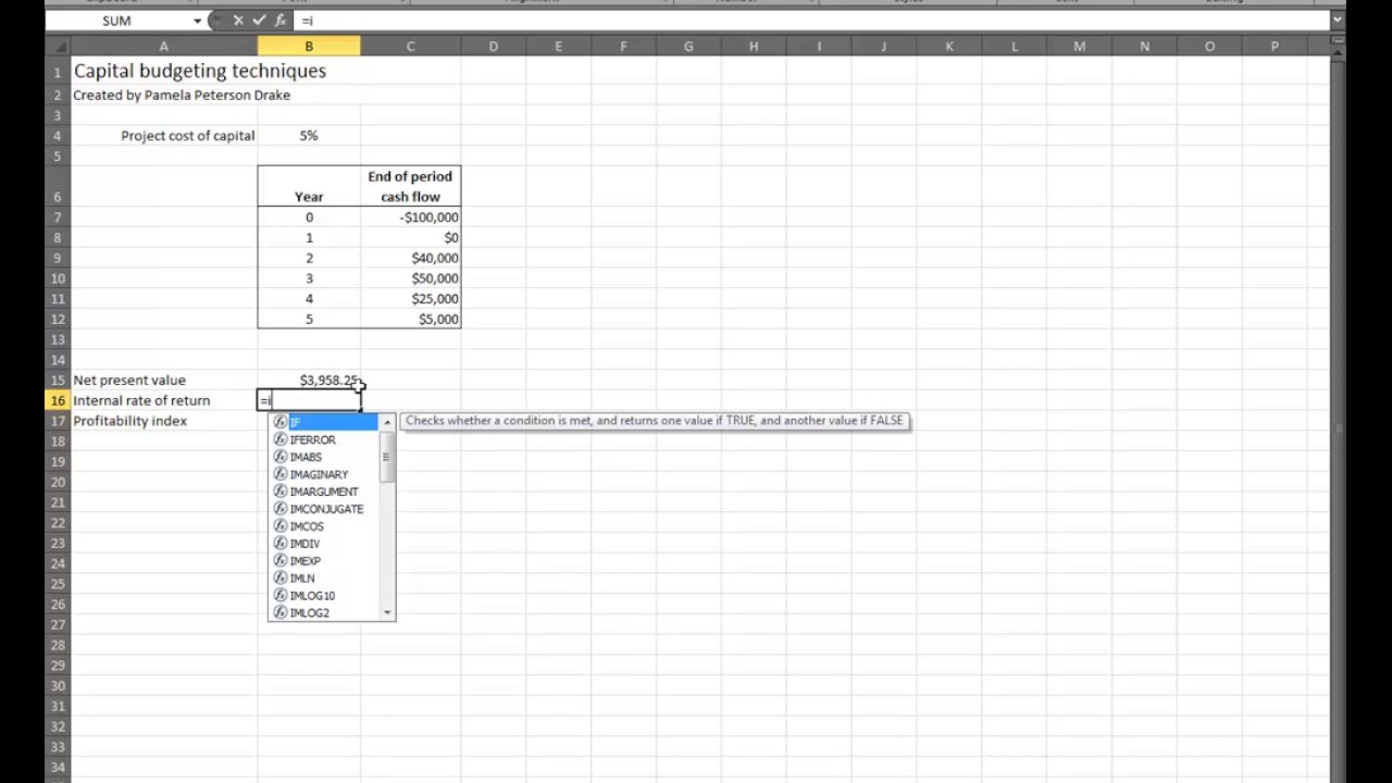 capital budgeting techniques in excel youtube