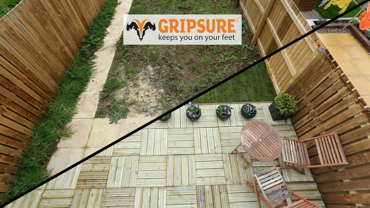 garden makeover using gripsure decking tiles - Garden Tiles
