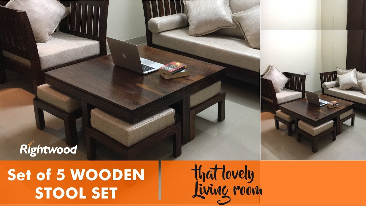 SPACE SAVER & ECONOMIC Wooden set of 4 stools and coffee table. Decorating  the living room.