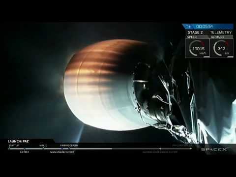 SpaceX PAZ Satellite Falcon 9 Full Launch Through Satellite Deployment