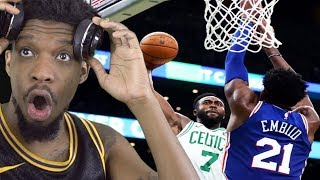 LOL I PICKED EMBIID FOR DPOY... CELTICS VS SIXERS SEASON OPENER HIGHLIGHTS!