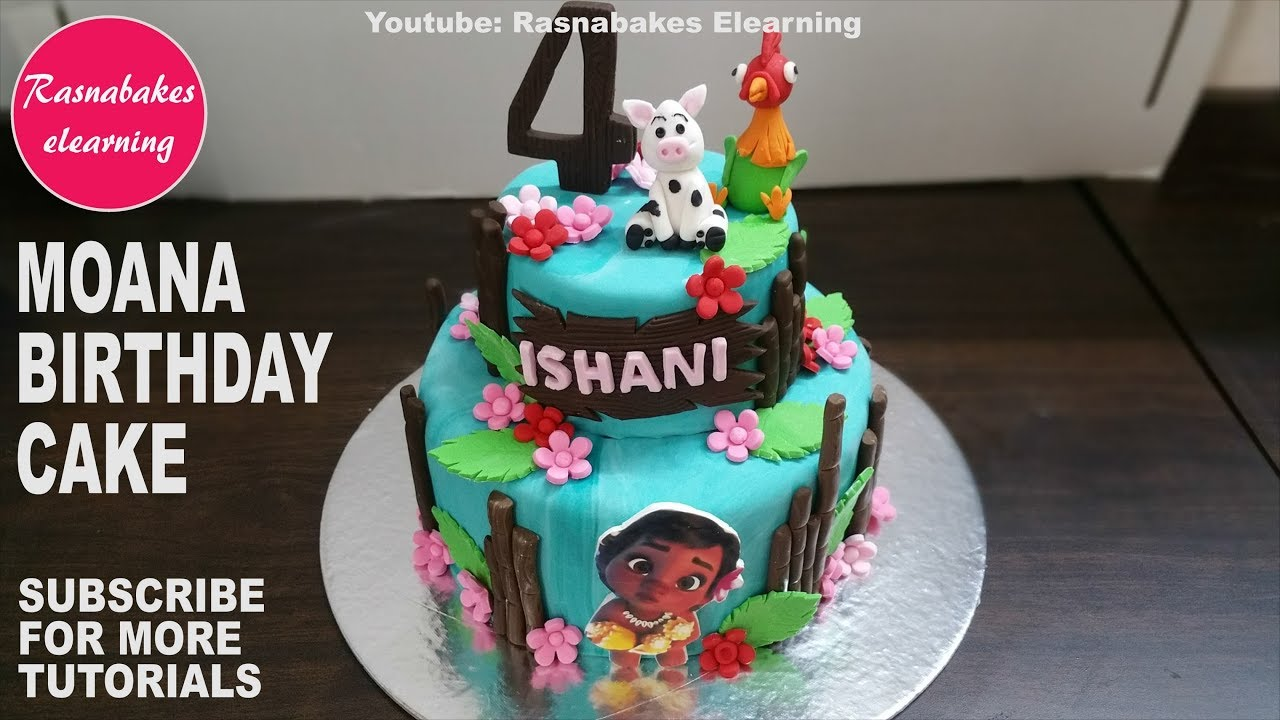 Moana Vaiana Doll Theme Fondant Birthday Cake Design Ideas Decorating Tutorial At Home Classes Youtube