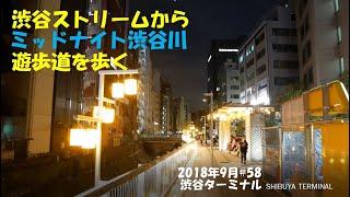 渋谷ストリームからミッドナイト渋谷川遊歩道を歩く2018年9月#58