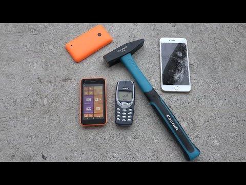 Nokia 3310 vs. Nokia Lumia 530 - Hammer Smash Drop Test