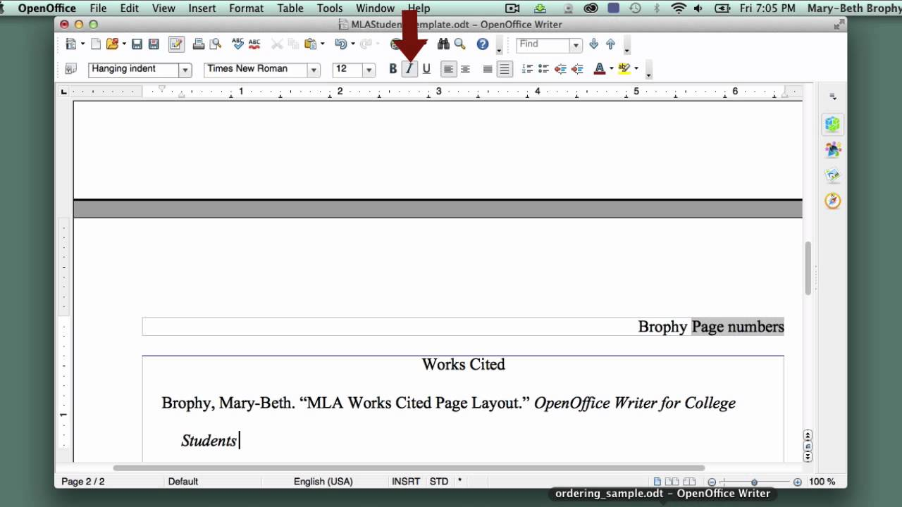 14 setting up mla style works cited page in openoffice writer youtube