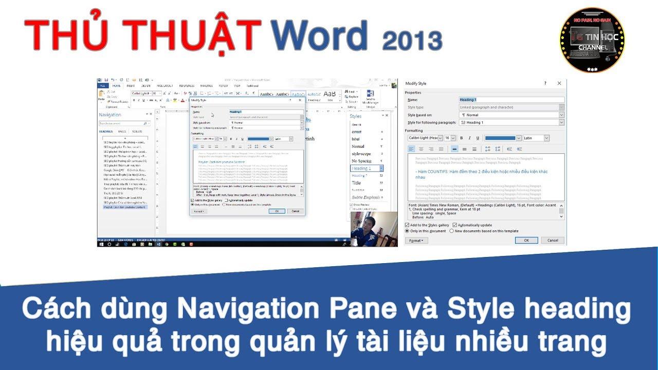 Thủ thuật Word 2013 | #03 – Cách dùng Navigation Pane và Style heading hiệu quả trong Word 2013