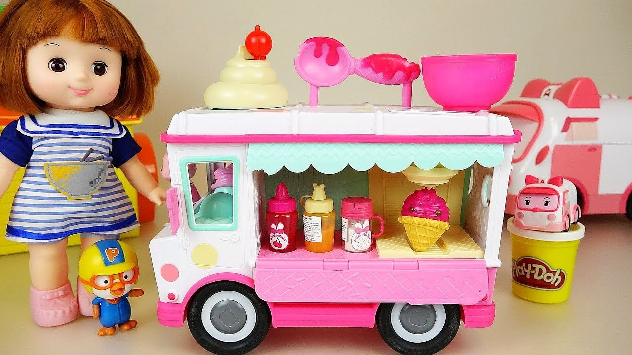 Baby doll and Play doh Ice cream car Baby Doli kitchen play