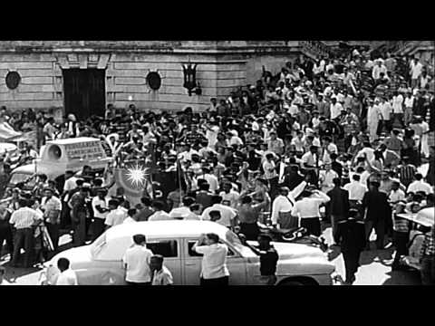 Celebrations in Havana Cuba as rebels under Fidel Castro evict Batista and take o...HD Stock Footage
