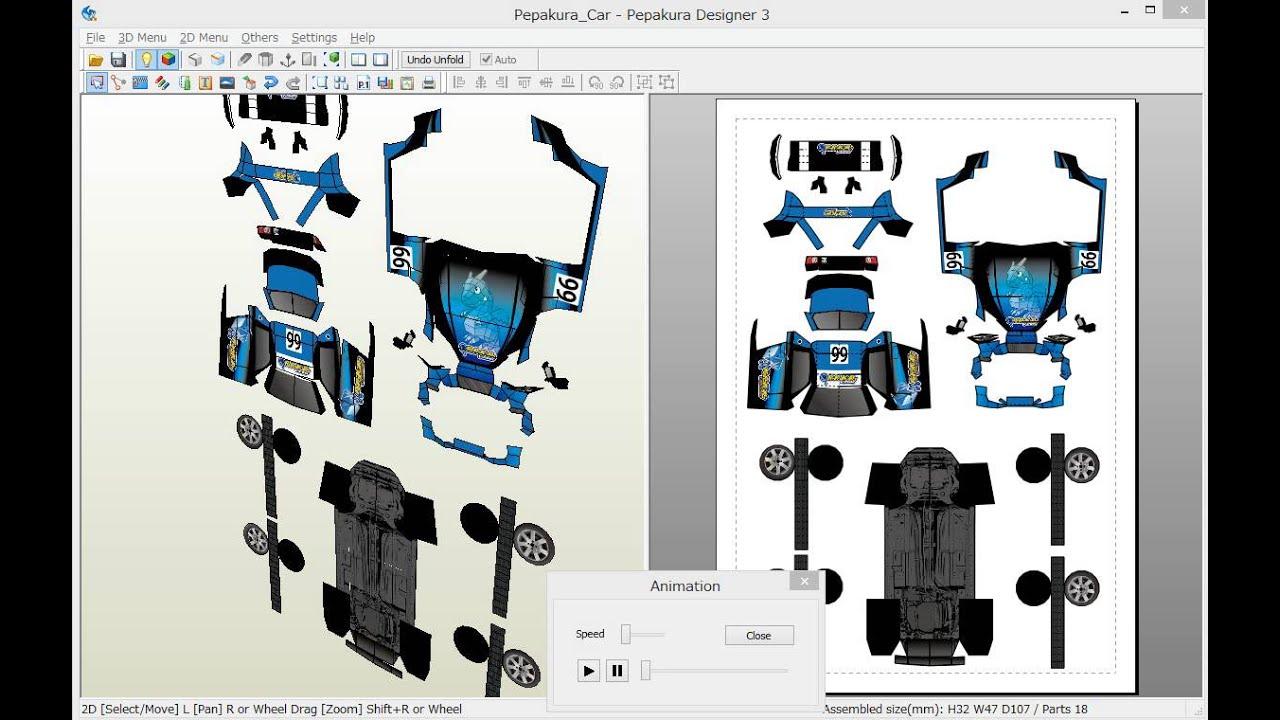 Foldingunfolding Animation On Pepakura Designer Youtube