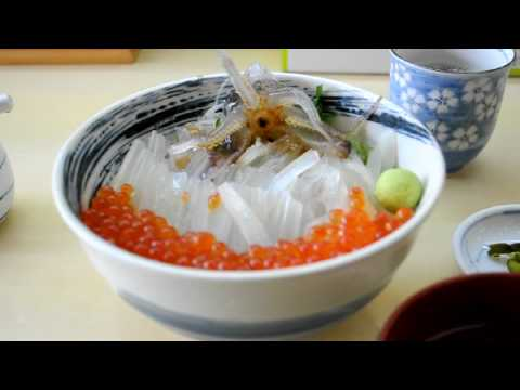 Ika odori don (Dancing squid bowl)