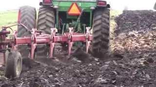 John Deere Tractor Pulling 5 Bottom Plow Gets Stuck