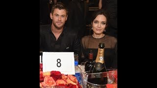 GOLDEN GLOBES: Angelina Jolie cosy with Chris Hemsworth | Jolie, her son Pax & Chris on red carpet.