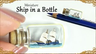 Tiny, Miniature Ship in a Bottle - Polymer Clay Tutorial