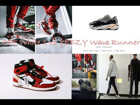 290d6bc6fd43e Off White Jordan 1 vs. Yeezy Wave Runner 700 Sneaker Reaction - YouTube