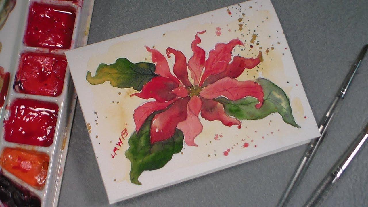 watercolor poinsettia tutorial  youtube