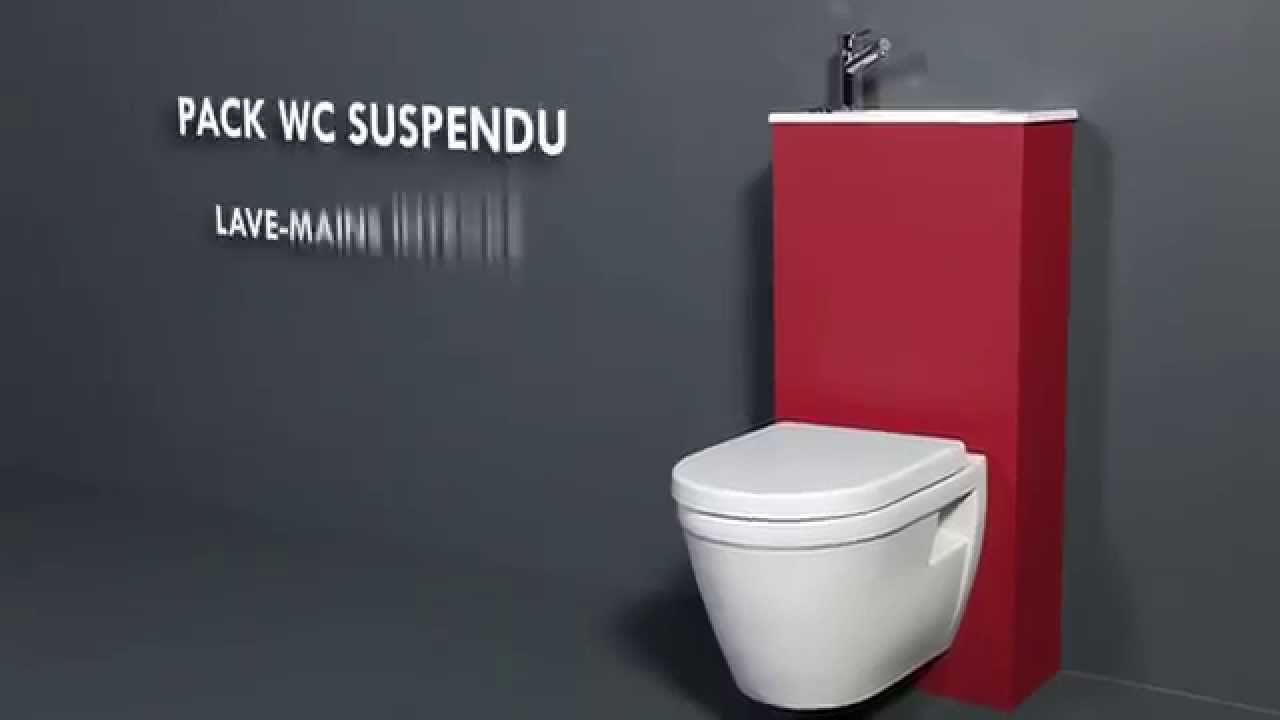Pack wc suspendu avec lave mains int gr youtube - Toilette avec lave main integre castorama ...