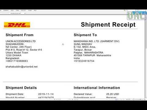 DHL Online Shipment Create