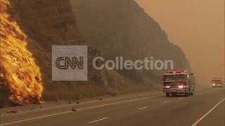 CA:WILDFIRE-BIG FLAMES AND FIRE CREWS