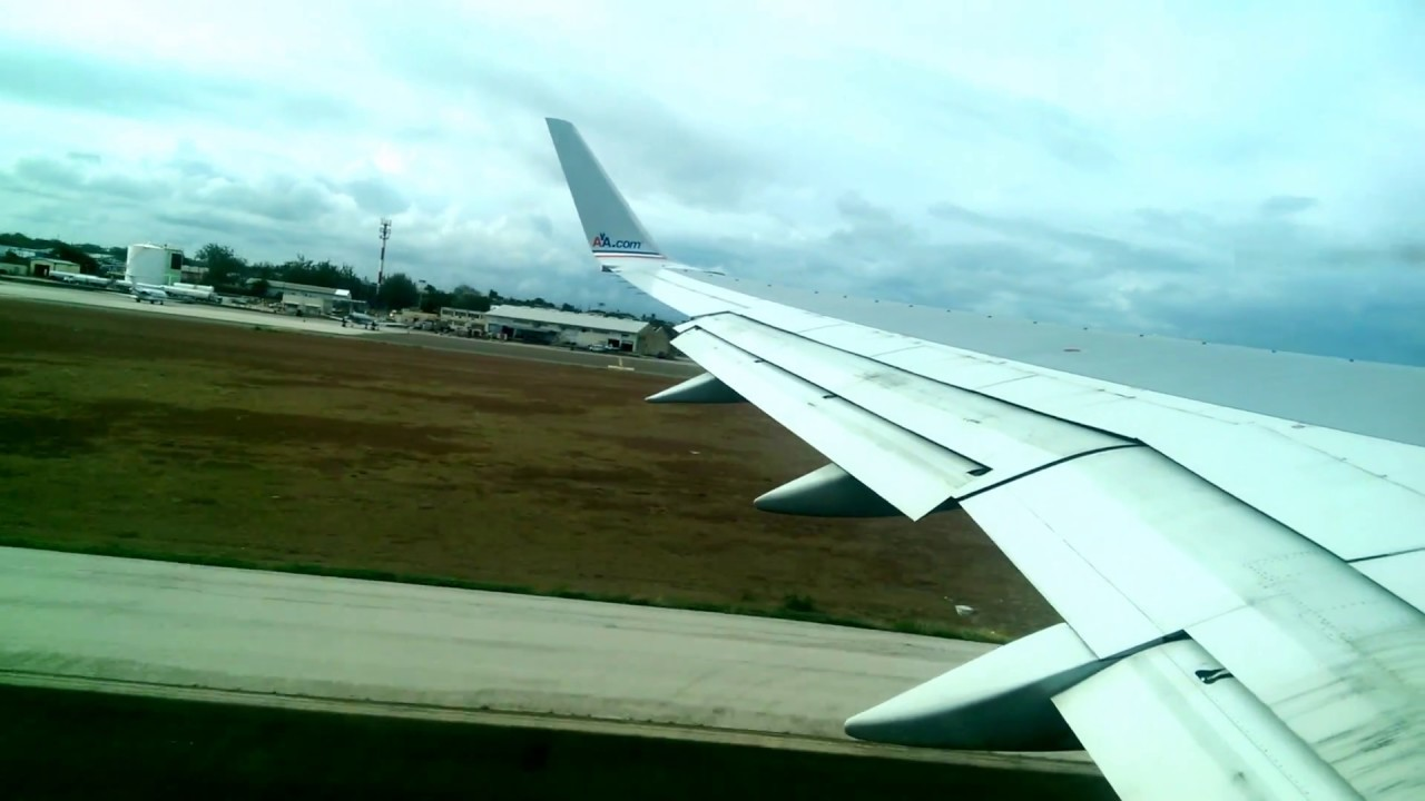 American Airlines Aal1089 Taking Off From Barbados To
