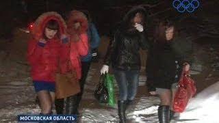 Побег подмосковных проституток на каблуках по льду! Какая неудача!