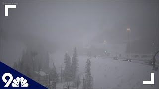 Snow falls at the Eisenhower Tunnel