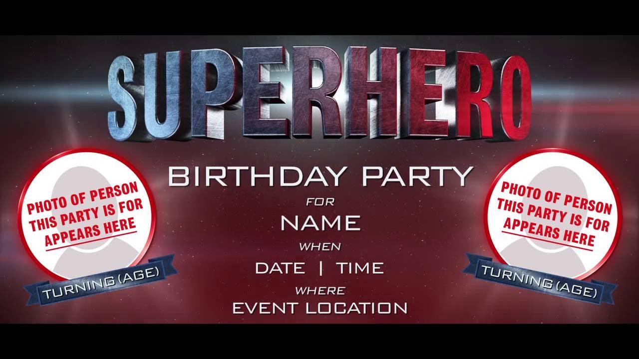 Superhero Birthday Invitation Adults