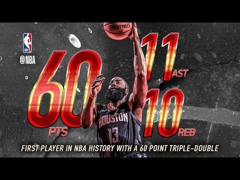 James Harden 1st Ever 60 Points Triple Double vs Magic! 2017-18 Season