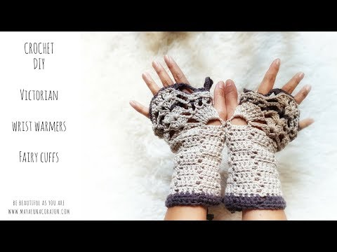 DIY CROCHET wrist warmers 2017/ Crochet Beautiful Victorian style fingerless gloves