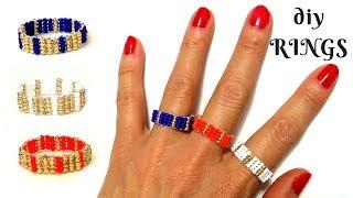 diy rings. beaded rings . beading tutorial. beading beginners
